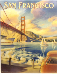 GOLDEN GATE BRIDGE SIGN GREAT ANGLE OF THE BRIDGE FROM BELOW, WITH SAILBOATS.  OLD FASHION COLOR AND DETAILS