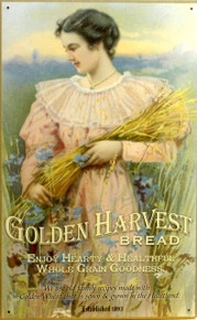 GOLDEN HARVEST BREAD SIGN, OLD TIME SIGN WITH OLD FASHION COLOR AND DETAIL