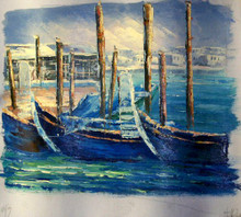 GONDOLAS AT ANCHOR smallest sized OIL PAINTING