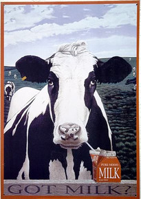 GOT Moo COW SIGN SHOWS COW SIPPING MILK FROM A BOX SITTING ON THE FENCE.  PASTEL COLORS GOOD DETAILL