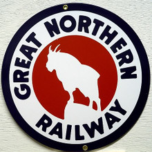 """GREAT NORTHER RR TRAIN PORCELAIN SIGN THIS SIGN IS ROUND WITH A MOUNTAIN GOAT STANDING ON A STEEP ROCK IN THE CENTER WITH """"GREAT NORTHERN RAILWAY""""  BOLD CRISP COLORS, NICE DETAIL"""
