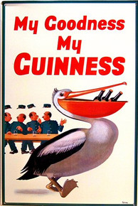 GUINNES BEER PELICAN SIGN GREAT HUMOR IN THIS ADD NICE COLOR AND SHARP DETAILS
