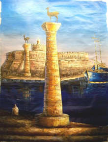 HARBOR ENTRANCE UP CLOSE large OIL PAINTING