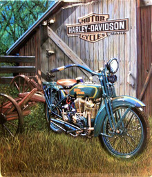 HARLEY FLAT HEAD TWIN  EMBOSSED  MOTORCYCLE SIGN, RICH COLORS GREAT EMBOSSING AND DETAILS