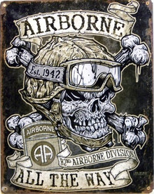Photo of AIRBORNE 82ND  PATCH SIGN, ON HEAVY METAL HAS HOLE(S) FOR EASY INSTALLATION. THIS SIGN HAS RICH COLORS AND GREAT DETAIL