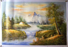 HOUSE IN MOUNTAINS BY WATERFALL medium large OIL PAINTING