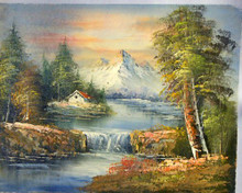 HOUSE IN MOUNTAINS BY WATERFALL smallest OIL PAINTING