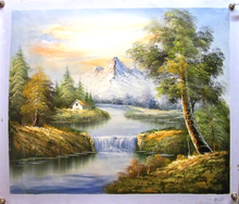 HOUSE NEAR WATERFALL IN MOUNTAINS medium OIL PAINTING