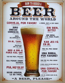 HOW TO ORDER A BEER IN DIFFERENT LANGUAGES SIGN