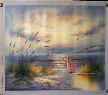 LADY IN PINK ON BEACH medium large OIL PAINTING
