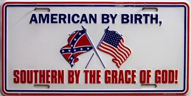 Photo of AMERICAN BY BIRTH, LICENSE PLATE FOR THE PROUD AMERICAN