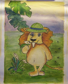 LION WITH HAT small OIL PAINTING