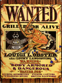 LOBSTER WANTED ENAMEL SIGN