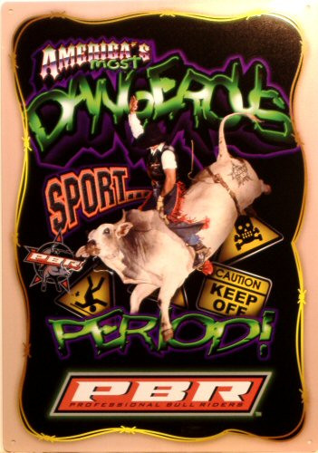Photo of AMERICA'S MOST DANGEROUS SPORT RODEO SIGN, GREAT ACTION AND COLOR
