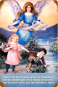 Photo of ANGEL AND CHILDREN, THIS SIGN IS WRITTEN IN SPANISH ABOUT THE GUARDIAN ANGEL WATCHING OVER THE CHILDREN