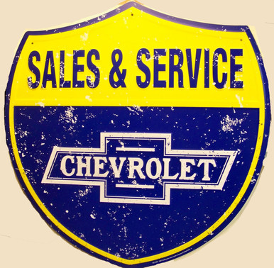 """LARGE CHEVROLET SALES & SERVICE SHIELD  MEASURES 22  3/4"""" w  X  23"""" h  WITH HOLE(S) FOR EASY MOUNTING"""