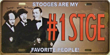 """STOOGES LICENSE PLATE  """"#1 STG""""  MEASURES 12"""" X 6""""  WITH SLOTS FOR EASY MOUNTING"""