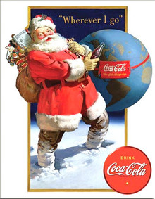 """VINTAGE SANTA COCA-COLA SIGN MEASURES 12  1/2""""  X  16""""  WITH HOLES FOR EASY MOUNTING"""