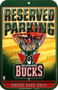 MILWAUKEE BUCKS BASKETBALL PARKING SIGN