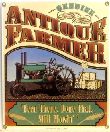 Photo of ANTIQUE FARMER PORCELAIN SIGN, RICH COLOR FOR THE OLD FARMER IN YOUR LIFE