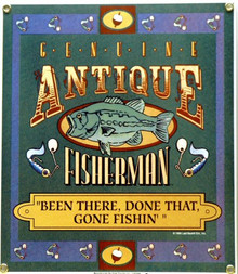 Photo of ANTIQUE FISHERMAN PORCELAIN SIGN, RICH COLOR FOR THE OLD FISHER IN YOUR LIFE