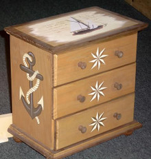 """Photo of NAUTICAL SET OF DRAWERS (3 DRAWER WOOD)   SIZE: 12 3/4"""" h x 12 w x 8"""" d  Material: WOOD"""