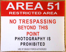 "Photo of AREA 51 ""RESTRICTED AREA"" METAL SIGN, PRE-RUSTED FOR THAT AUTHENIC LOOK"
