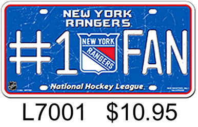 Photo of NEW YORK RANGERS HOCKEY #1 FAN EMBOSSED LICENSE PLATE