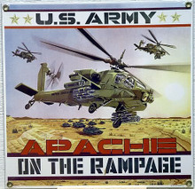 Photo of ARMY APACHE PORCELAIN SIGN, RICH COLOR AND ATTENTION TO DETAIL!!