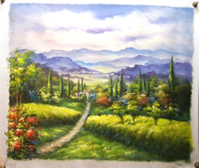 PATHWAY TO TOWN medium OIL PAINTING