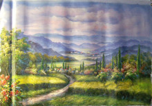 PATHWAY TO TOWN medium large OIL PAINTING