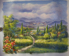 PATHWAY TO TOWN smallest OIL PAINTING
