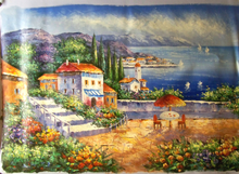 PATIO WITH TABLE OVERLOOKING SEA OIL PAINTING