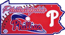 PHILADELPHIA PHILLYS BASEBALL DIE CUT STATE SIGN