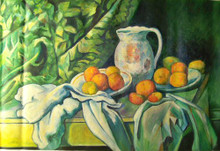 PITCHER ON TABLE WITH PLATES OF FRUIT OIL PAINTING