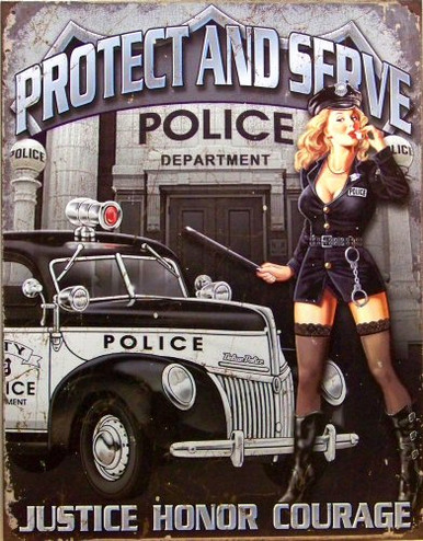 POLICE DEPARTMENT PROTECT & SERVE SIGN