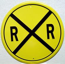 RAILROAD CROSSING TRAIN ROUND SIGN