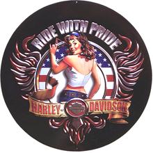 HARLEY RIDE WITH PRIDE DIE-CUT & EMBOSSED MOTORCYCLE SIGN