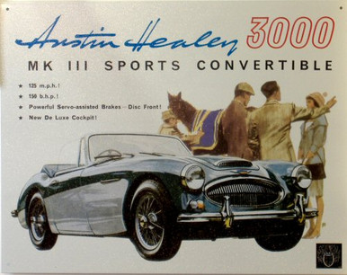 """Photo of AUSTIN HEALEY  """"3000"""" SIGN, GREAT COLOR AND GRAPHICS"""