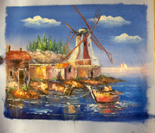 ROW BOAT BY WINDMILLS smallest OIL PAINTING