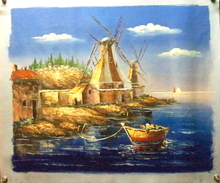 ROW BOATS BY WINDMILLS medium large OIL PAINTING