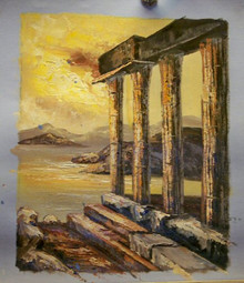 RUINS small OIL PAINTING