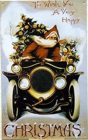 SANTA 1910 AUTO CHRISTMAS SIGN