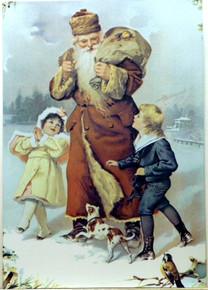 SANTA W/2 KIDS & DOG CHRISTMAS SIGN