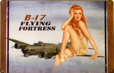 Photo of B17 SEMI-NUDE (Sublimation Process)  HEAVY DUTY METAL SIGN FOR THE WWII ENTUHSIAST