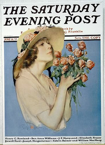 SAT EVE POST GIRL W/FLOWERS SIGN