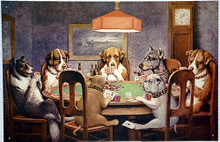 SEVEN DOGS PLAYING POKER SIGN
