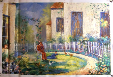 Photo of BACKYARD WITH CHICKENS  OIL PAINTING