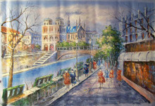 SHOPPERS BY CANAL WITH BRIDGE MEDIUM large OIL PAINTING