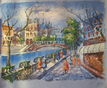 SHOPPERS BY CANAL WITH BRIDGE SMALL OIL PAINTING